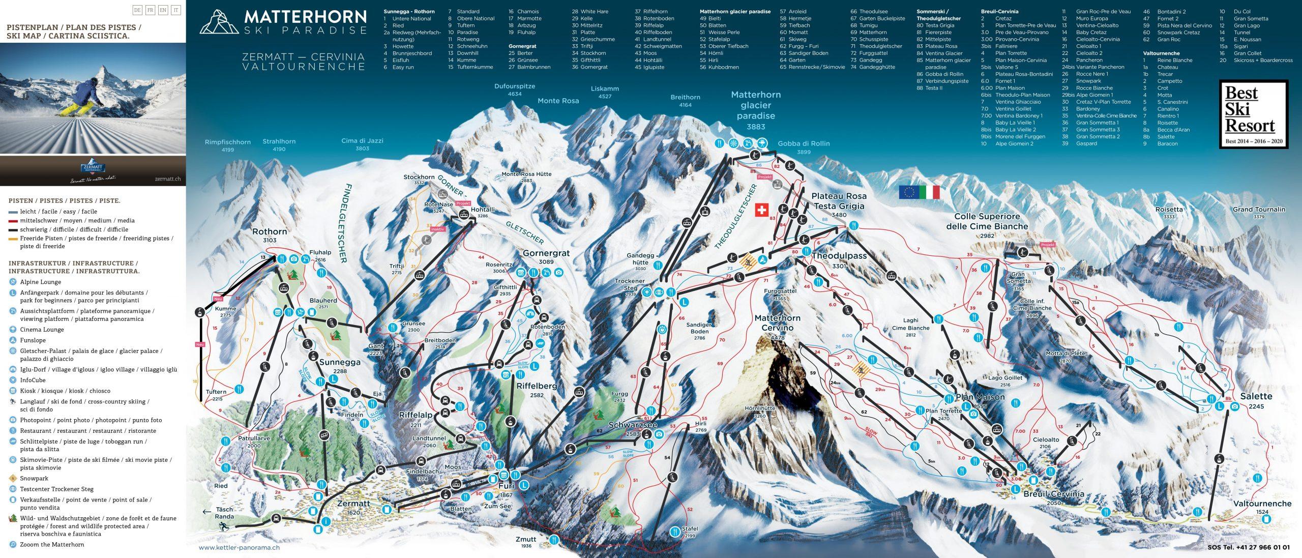 mapa pistas zermatt